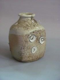 Wood fired stoneware, shino, fired on seashells
