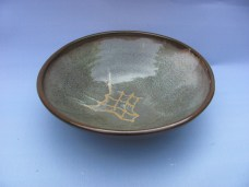 Stoneware, layered glazes, wax resist