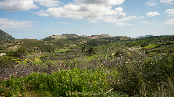 A landscape view across the island of Zakynthos.