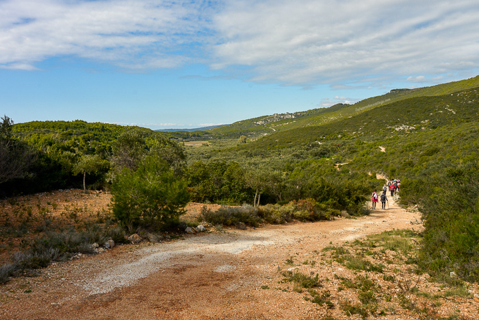A dry sandy hiking trail leading through green land and hills.