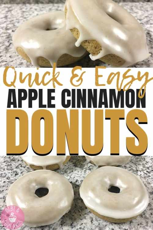 glazed apple cinnamon donuts on a marble counter