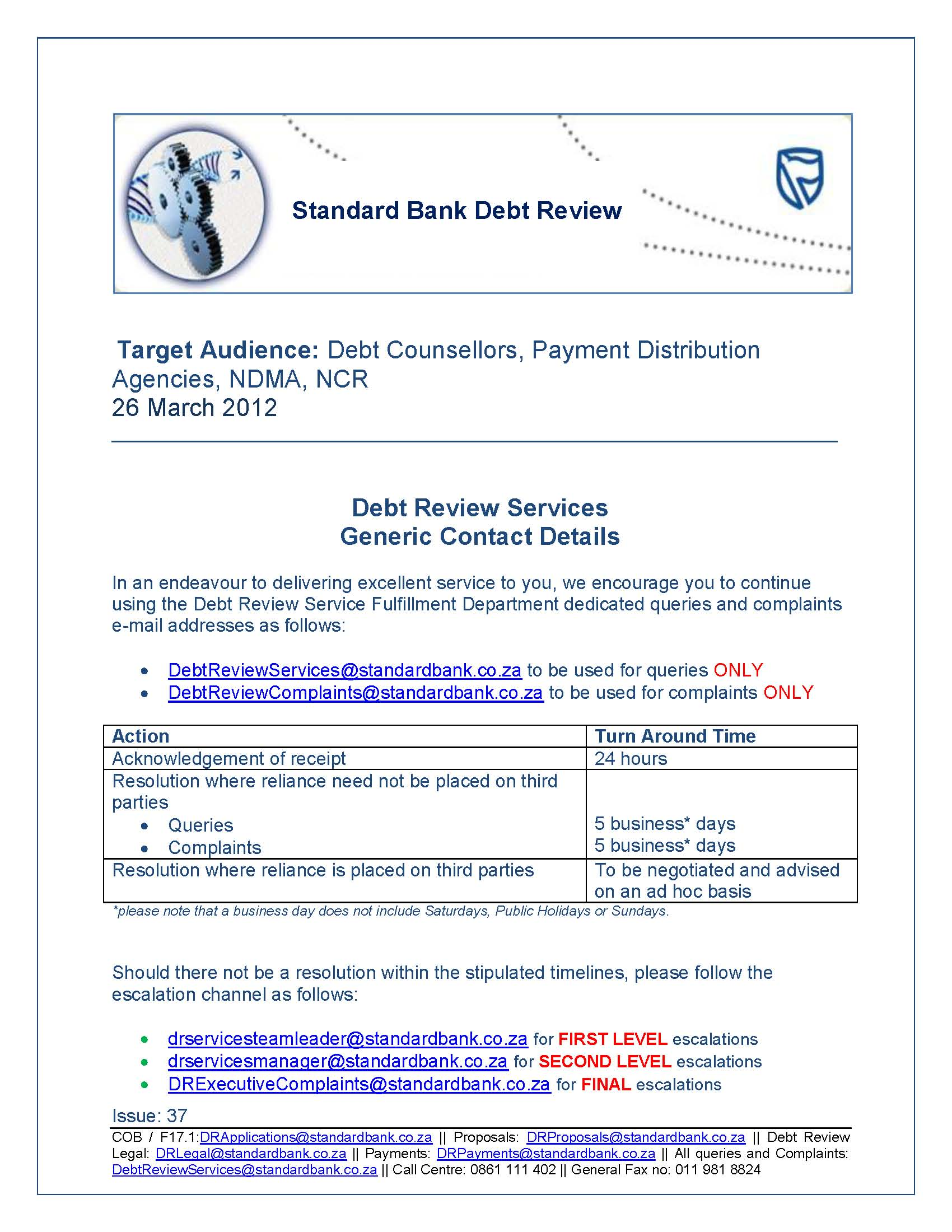 Debt Counselor Cover Letter Std Bank Contact Details For Debt Review Matters