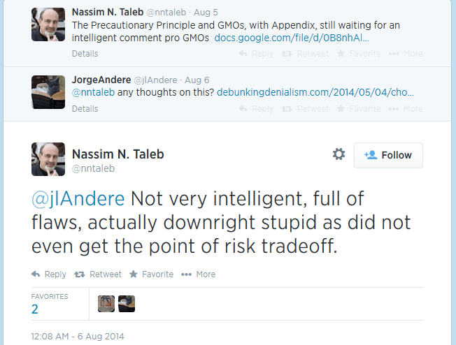 Taleb responds..not