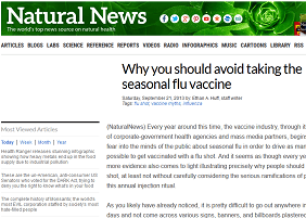Natural News spreads misinformation about seasonal influenza vaccine