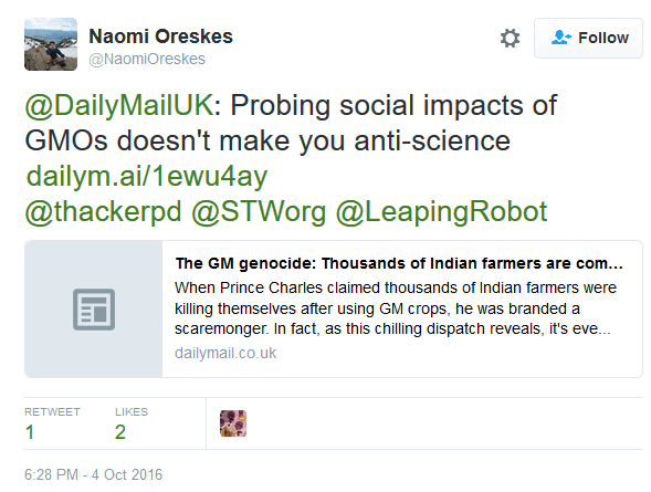 Oreskes on GMOs in 2016