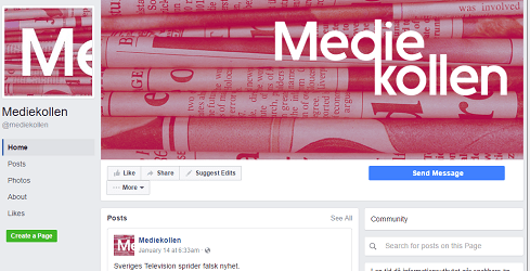 Facebook page of Mediekollen