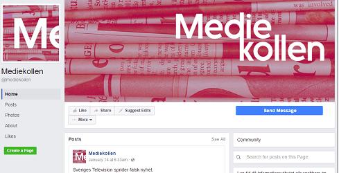 Facebook page of Mediekollen