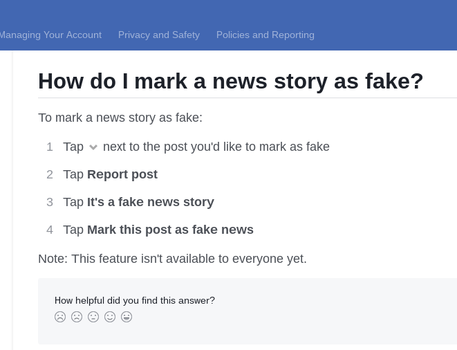 How to mark something as fake news?