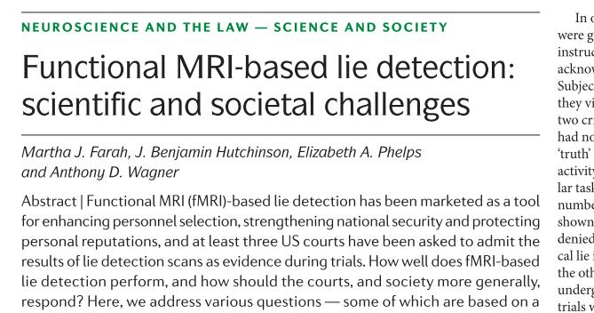 fMRI-based lie detection