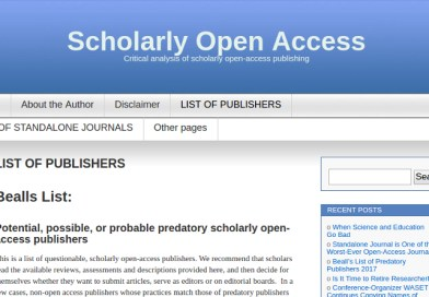 We Now Know Why Jeffrey Beall Removed List of (Allegedly) Predatory Publishers