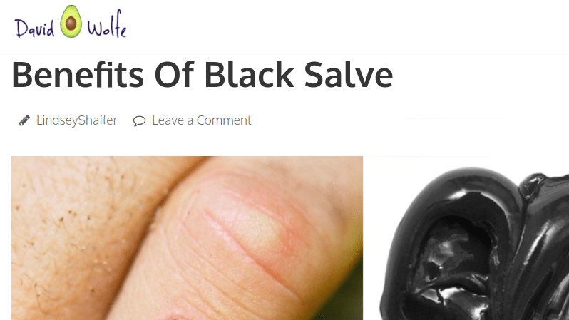 David Avocado Wolfe promotes corrosive black salve