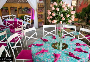 festa azul tiffany com rosa