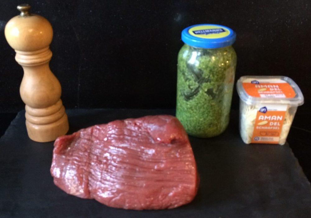 Ingrediënten rosbief met pesto en amandelschaafsel