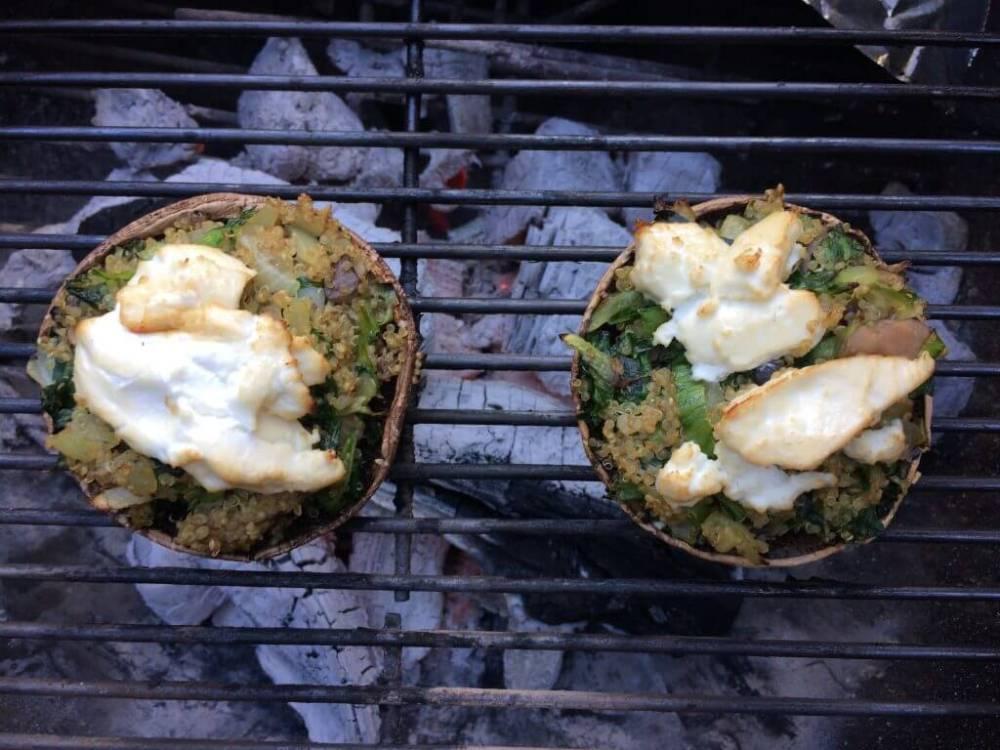 Portobello met quinoa en andijvie