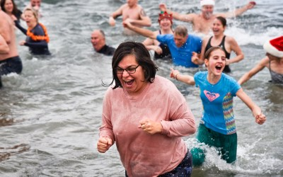 Taking the Polar Bear plunge at Goose Spit on Boxing Day