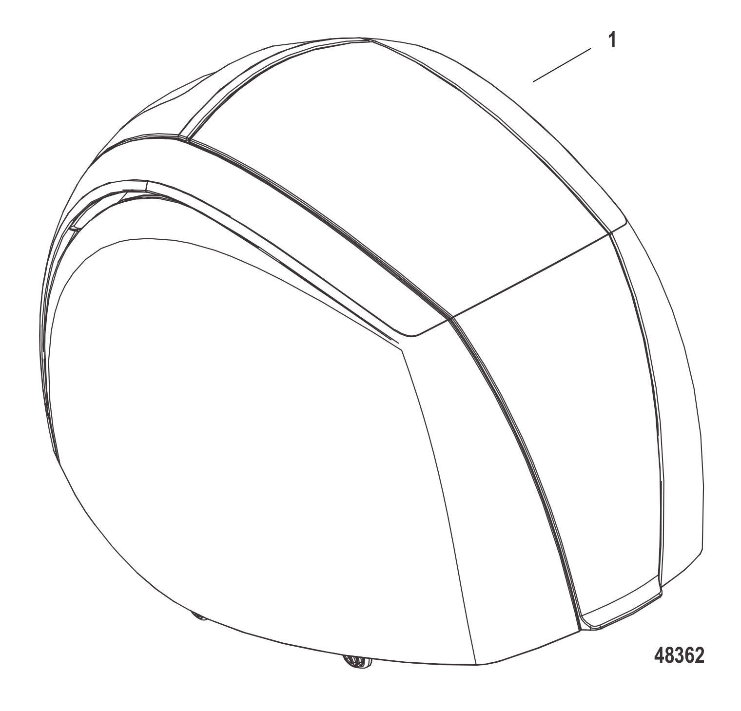 8m0075367 top cowl assembly mercury non decaled