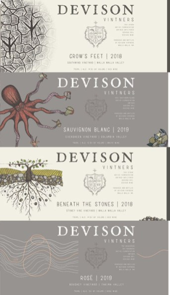 Devison Vintners wine label designs