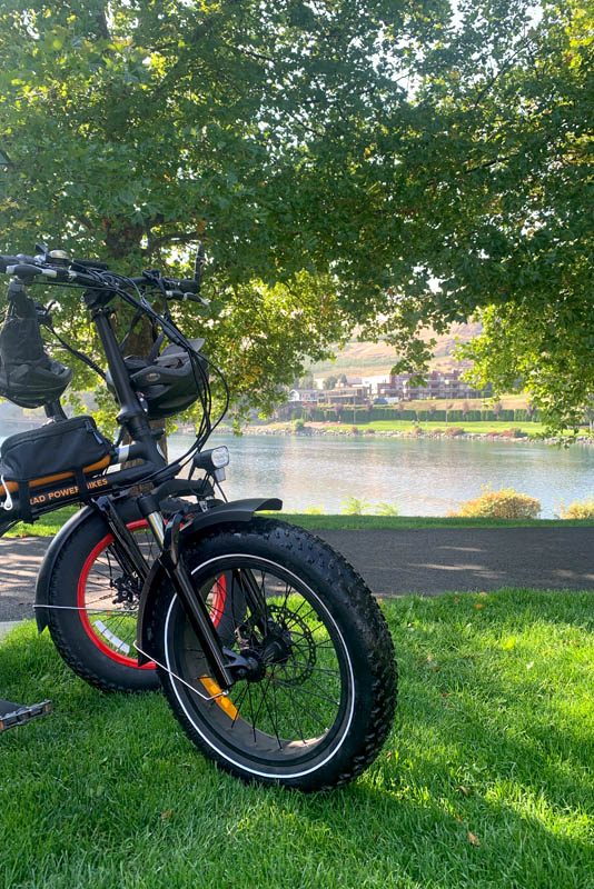 Decanted Podcast e-bike in Lake Chelan