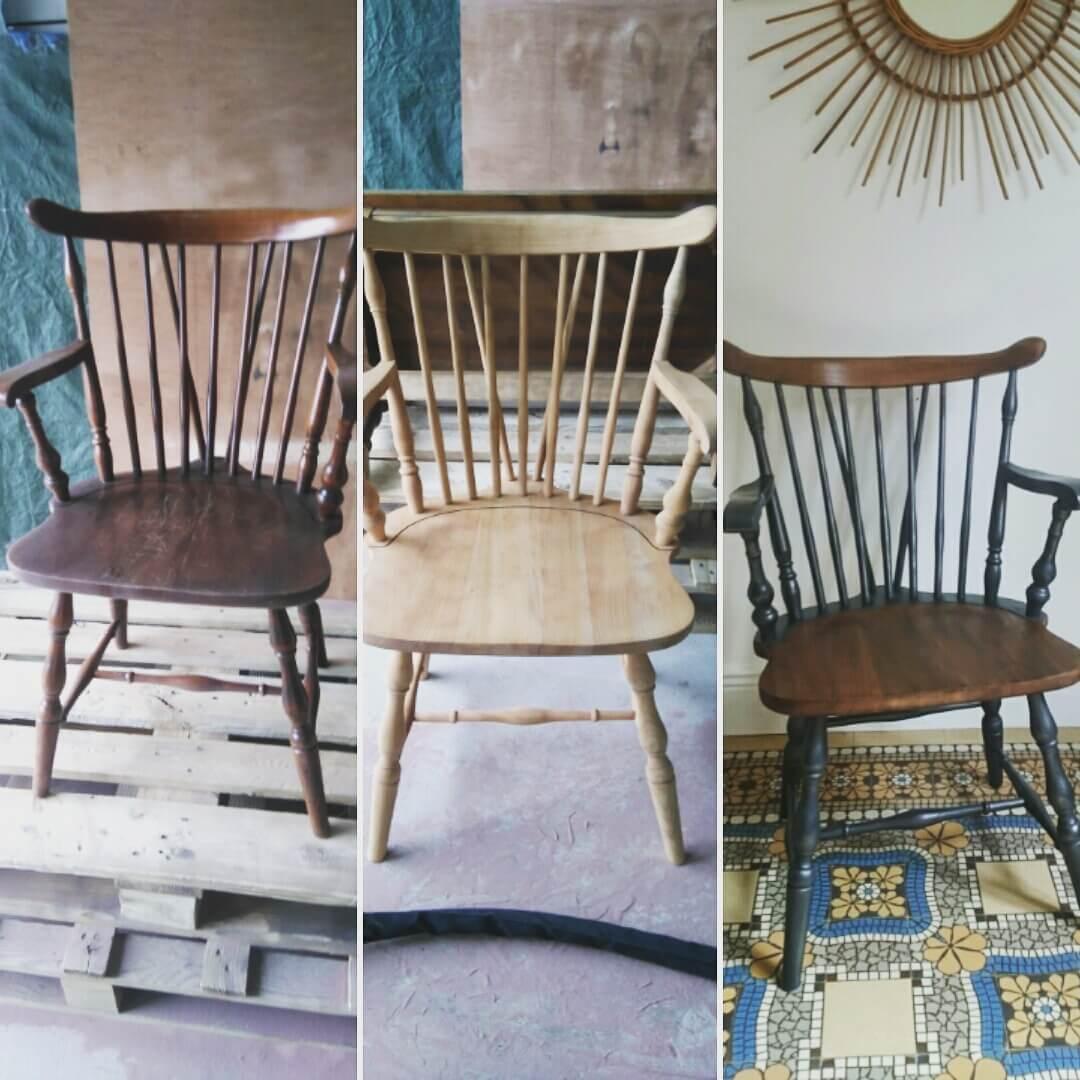 a rogommage et finition sur chaise avec barreaux decap industrie. Black Bedroom Furniture Sets. Home Design Ideas