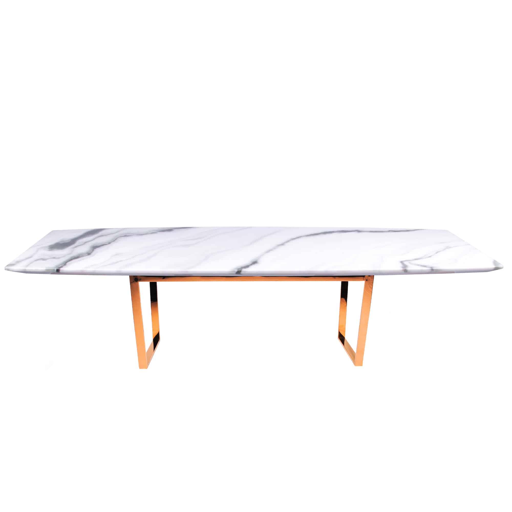 Decasa Rectangular Marble Dining Table Panda White 1