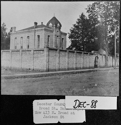 Bainbridge, ca 1905. Decatur County Jail located on Broad Street. *** *** Vanishing Georgia, Georgia Division of Archives and History, Office of Secretary of State. Georgia Archives 5800 Jonesboro Road, Morrow, GA 30260