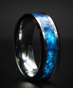 Meteorite wedding rings