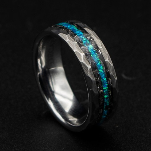 Meteorite Men's Wedding Band with Opal Line | Decazi