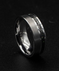 mens wedding band meteorite