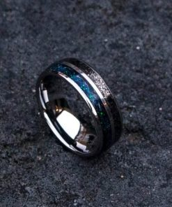Men's Meteorite Ring with Galaxy Opal Inlay, Tungsten Jewelry | Decazi