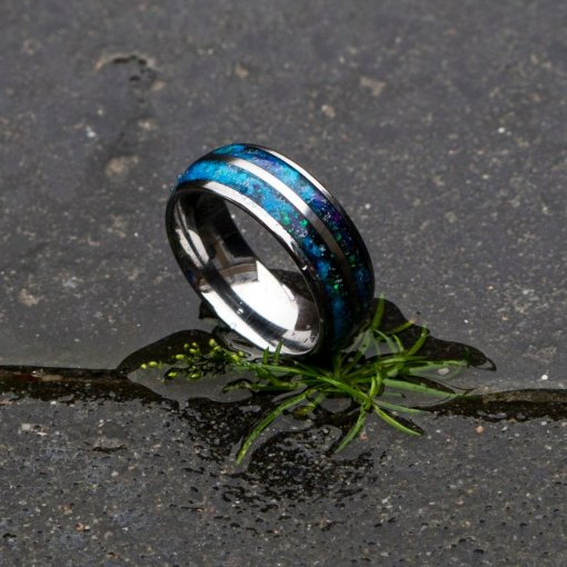 Double Domed Tungsten Ring with Galaxy Opal Inlay   Decazi
