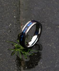 6mm Wide Hammered Tungsten Ring with Galaxy Opal Inlay - Decazi
