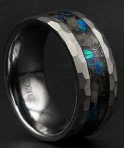 Hammered Tungsten with Megalodon Tooth and Opal | Decazi