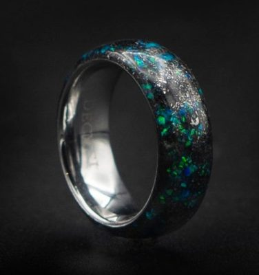 Domed Meteorite Ring with Kryptonite Green Opal | Decazi