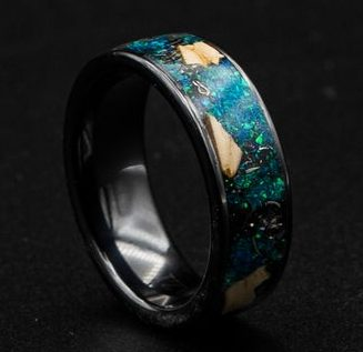Black Ceramic Dinosaur Bone Ring, Tungsten Rings for Men - Decazi