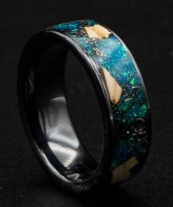 Black ceramic dinosaur bone ring