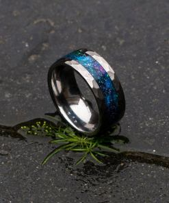 Galaxy Opal Ring with Galaxy Opal Inlay, Tungsten Carbide Rings | Decazi