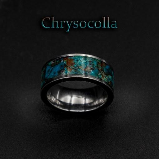 Chrysocolla Healing Crystal Ring, Custom Tungsten Jewelry | Decazi