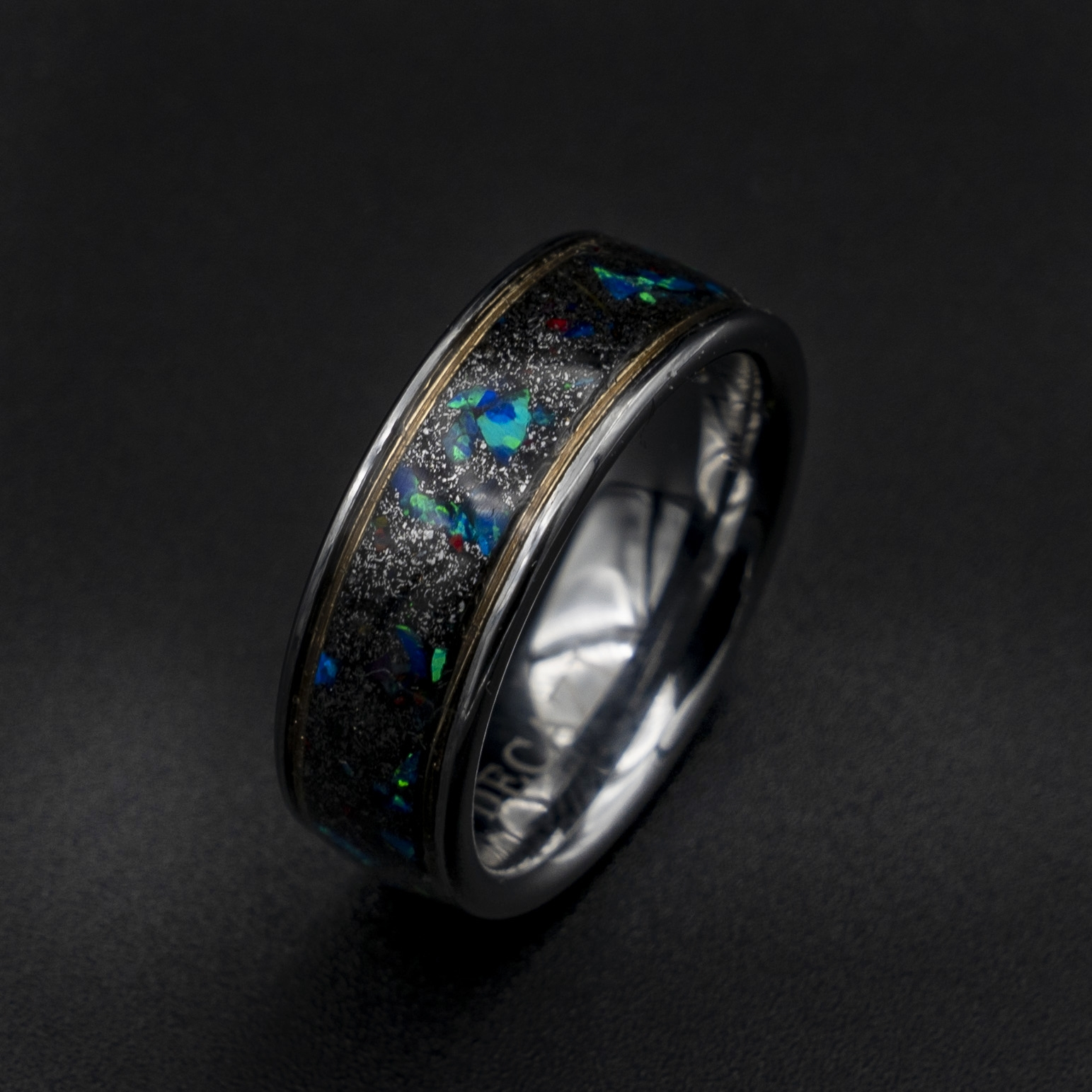 Meteorite Ring With Royal Blue Opal And Goldwire Tungsten