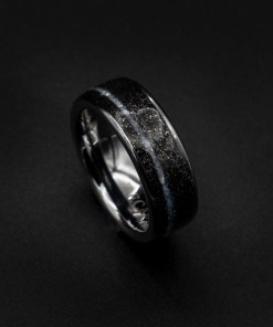Men's Meteorite Ring with Pearl and White Opal Inlay | Decazi