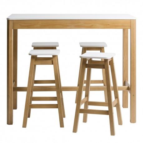 Conjunto de mesa alta y 4 taburetes Petra en madera de