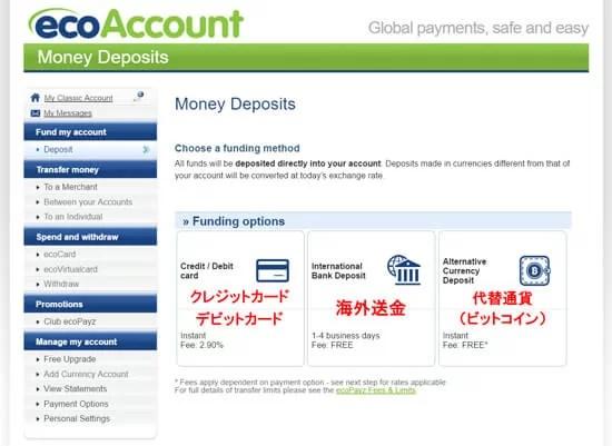 eco0013 1 - ecoPayz(エコペイズ)の入金方法、手数料、限度額の解説
