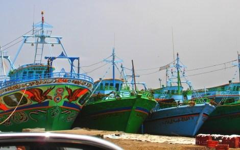 green boats
