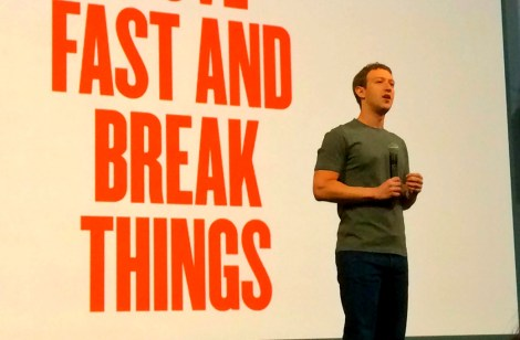 """""""Move fast and break things"""" Facebook CEO Mark Zuckerberg onstage at the F8 conference 2014. The new motto: """"Move fast with stable infrastructure."""" Image: Wikimedia"""