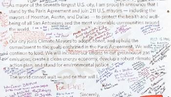 San Antonio Demands Climate Action Banner (detail)
