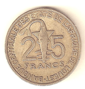 25 Franc coin issued in 2003 by BCEAO