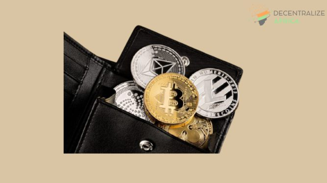 A wallet filled with cryptocurrency