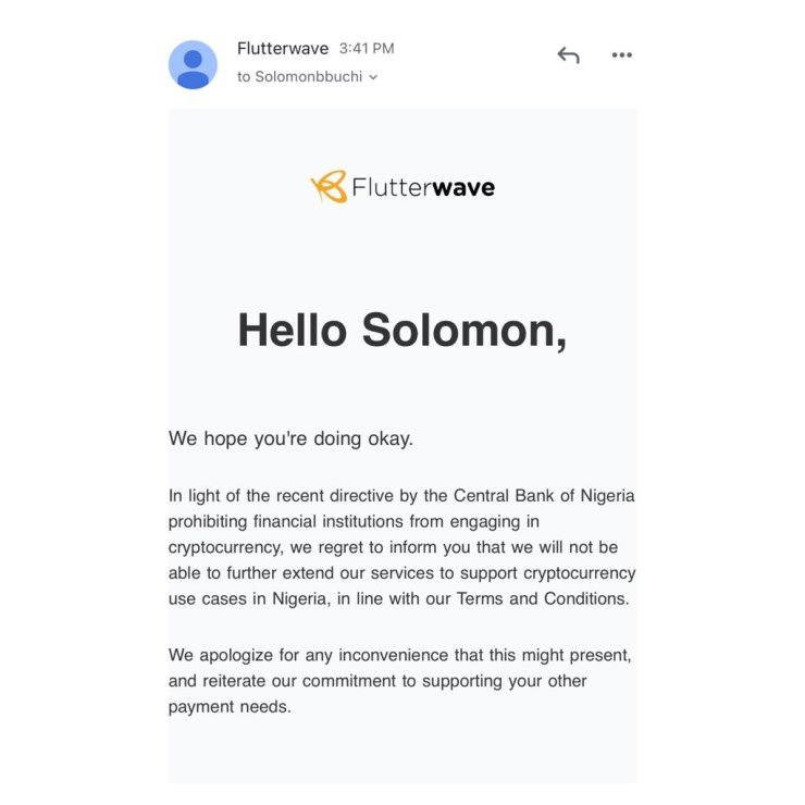 Flutterwave suspend crypto services in light of CBN's directive.