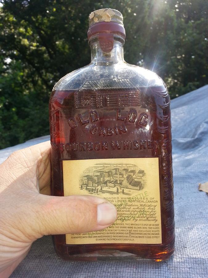 1927  I Think Pint Of OLD LOG CABIN Bourbon Still