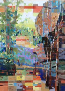 "Anne Mitro Hiking (2015), Acrylic on Canvas, 30"" x 40"", 76.2 x 101.6 cm"