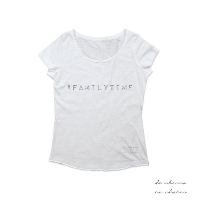 camiseta mujer familytime blanco con gris www.decharcoencharco.com